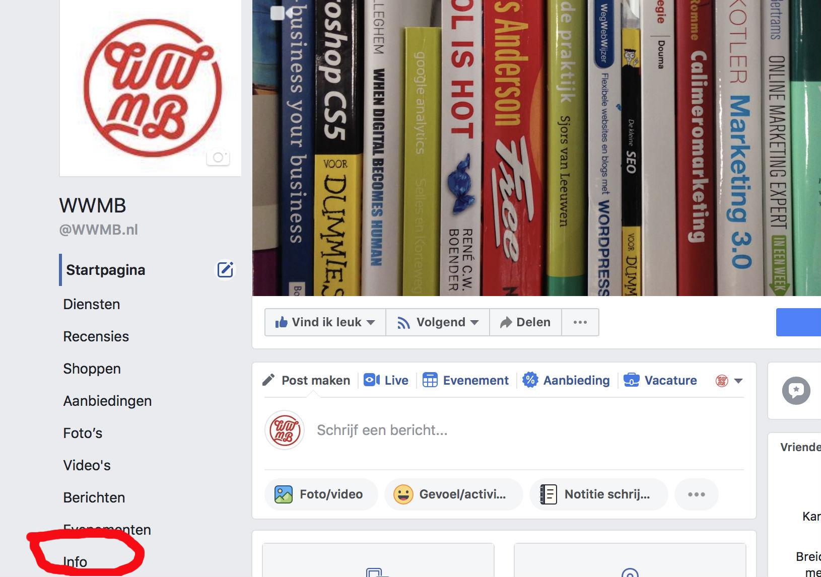 stap 1 Facebook paginanaam wijzigen